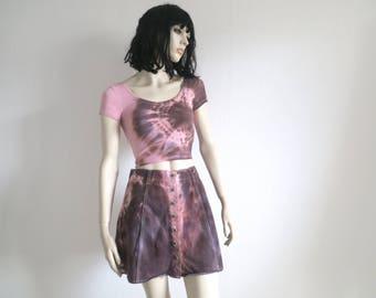 Hippie skirt Size S-M Coachella Boho Brown rose high waist, upcycled!