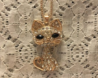 Crystal Cat Pendant Necklace/Cat Necklace/Cat Pendant/Crystal Cat Pendant/Cat Jewelry