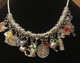 Alice in Wonderland Charm Necklace/Alice in Wonderland Jewelry/Alice in Wonderland Jewelry/Alice in Wonderland Gifts/Alice in Wonderland