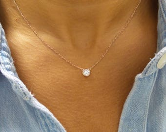 Solitaire Necklace Rose Gold Plated/ CZ Solitaire Pendant/ Dainty Solitaire Necklace/ Minimalist Necklace/ Solitaire Bezel Pendant/Rose Gold