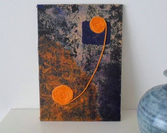 An Original Abstract Artwork OOAK in Blues and Orange Housewarming Gift Ready to Ship
