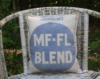 Vintage Feed Sack Pillow - Grain Sack - Borden's