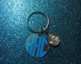 One Inch Monogram Metal Keychain {With or Without Charm}