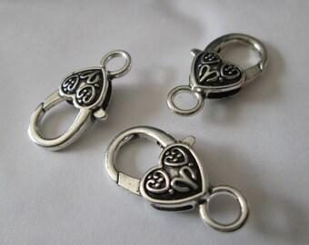 a key - heart / hook silver 27 x 15 mm