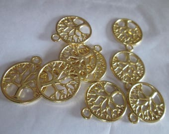 set of 10 charms tree of life / tree of wisdom gold