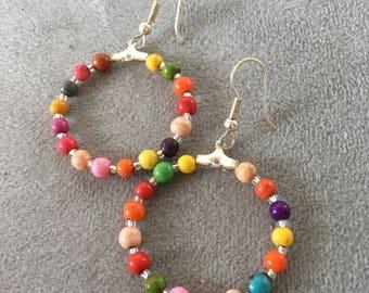 Multi-colored hoop earrings large