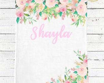 Personalized Baby Blanket / Name Baby Blanket / Custom Baby Blanket / Baby Shower Gift Girl / Whimsical Baby Shower / Floral Baby Blanket