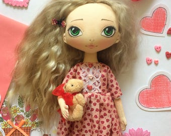 TEXTILE DOLL, FASHION doll, interior doll, ooak, fabric doll, handmade doll, cloth doll, beautiful doll, doll for girls