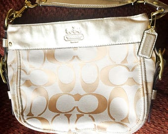 NEW Coach purse, beige/gold canvas with gold trim and straps