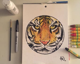 Custom Animal oil pastel Drawing different size options