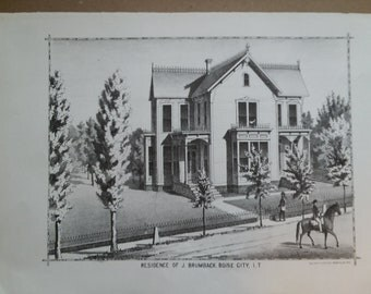 Residence of J. Brumback, 1884 Lithograph
