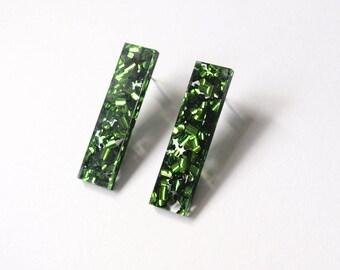 Bar Stud Earrings in Green Glitter Acrylic