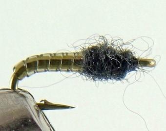 Fishing Flies - 3 Midge Pupa Grey Flies - Sizes 16, 18, 20