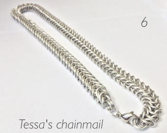 Chainmaille necklace, silver necklace, chainmaille box, bolt necklace, Industrial jewelry, old silver necklace, Tessa's chainmail