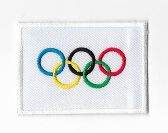 "Olympic Game Flag Sew on Patch Embroidered Applique Patches Emblem Souvenir 3"" x 2"" FREE SHIPPING"