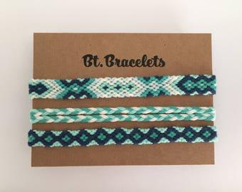 Set of 3 friendship bracelets bracelets green/blue