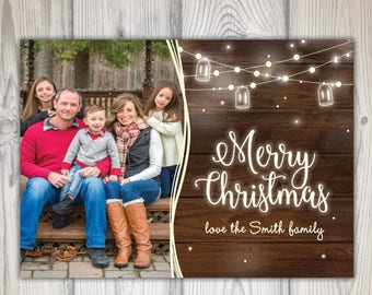 Rustic Christmas Card with Photo | Christmas Card Photo | Christmas Card Rustic Wood String Lights | Christmas Card Template