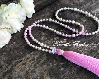 Pink Sotuar with Swarovski pearls • Tassel necklace with Swarovski crystal • Long necklace • Women necklace • Chic pendant • Beaded jewelry