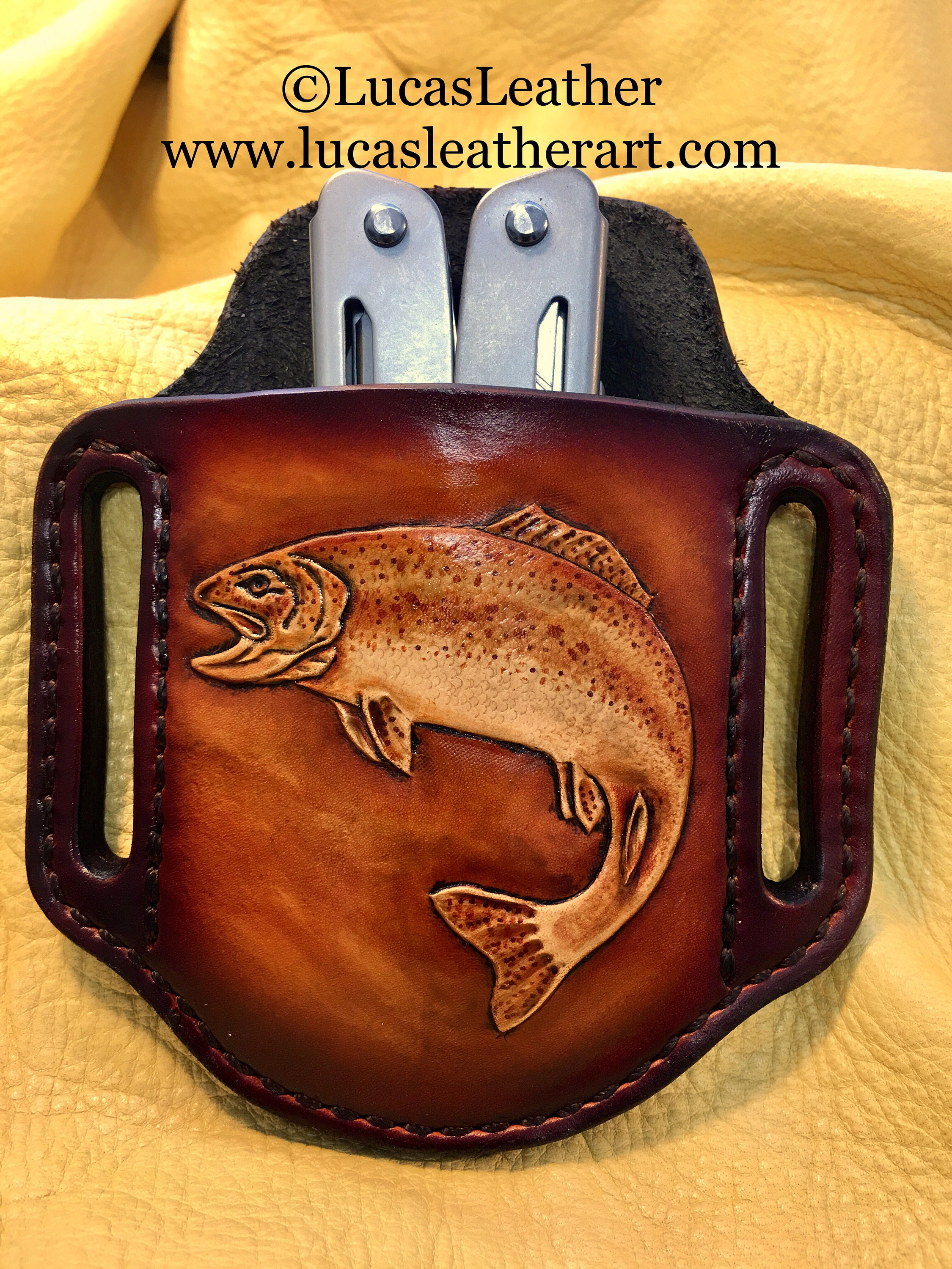 Hand carved and dyed leather rainbow trout pancake holster