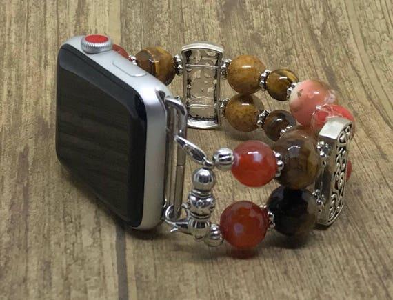 "Apple Watch Band, Women Bead Bracelet Watch Band, iWatch Strap, Apple Watch 38mm, Apple Watch 42mm, Red Orange, Brown Sizes 7"" to 7 1/4"""