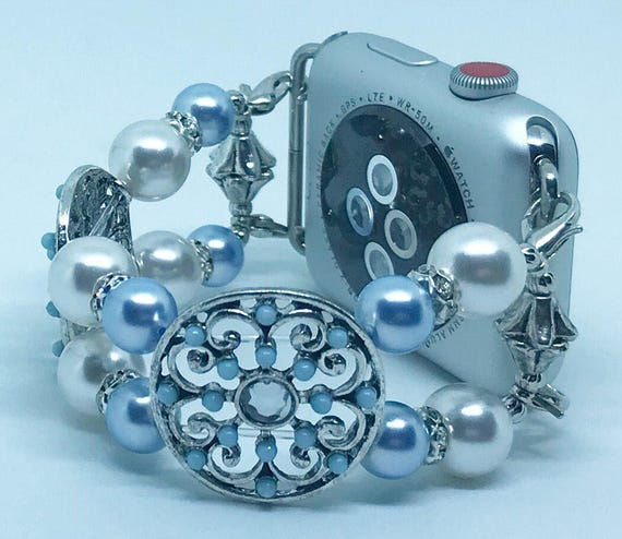 Apple Watch Band, Women Bead Bracelet Watch Band, iWatch Strap, Apple Watch 38mm, 42mm, Blue White Swarovski Pearls Spacers Size 6""