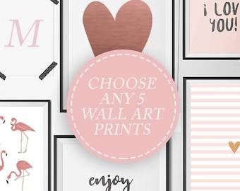Choose 5 Prints From My Shop, Set of 5 Art Prints, Bedroom Wall Art, Home Decor, Digital Download, Scandinavian Art, Kids Print, Print Deal