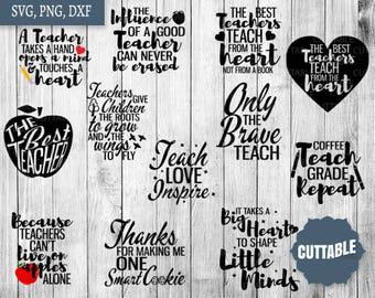 Teacher SVG cut files Bundle, teacher quote svg pack cut files, 12 teaching gift cut files, cricut, silhouette, commercial use, teachers svg