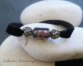 Black velvet look Ribbon Bracelet