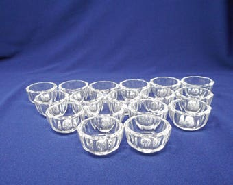 17 Vintage Glass Open Salt Dips Salt Cellars