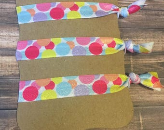 Bubbles Hair Ties Set of 3.Multi colored Hair ties. Rainbow colored hair ties. Circle hair ties.