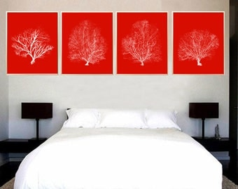 Red Coral art print Coral Set of 4 Coral Red Coral illustration Coral room decor Coral poster Sea Coral art print Coral watercolor art decor