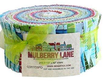 "Benartex Mulberry Lane Pinwheel/Jelly Roll by Cherry Guidry for Contempo Studio - 40, 2.5"" Precut Fabric Strips"