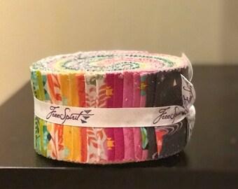 "Free Spirit - Spirit Animal Design Roll /Jelly Roll by Tula Pink - 40, 2.5"" x 42"" Precut Fabric Strips"