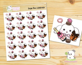 Celebrate / Merry X-MAS / Happy New Year Bunny Emoji/ Emotions Planner Stickers