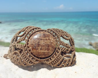 Macrame bracelet fossilized wood