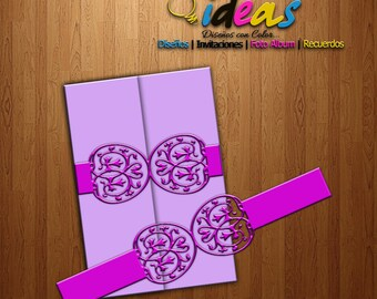 Wedding Invitation Headband, headband XV Años, Bellyband, wedding invitation, laser cut, files (SVG, DFX, AI, Corel), Laser cut, cameo
