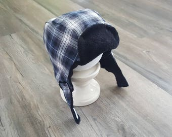 Black and blue boys winter hat/Kids winter hat with ear flaps/toddler winter hat/Kids yooper hat/kids winter hat/trapper hat for toddlers
