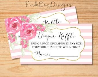 Floral Diaper Raffle Insert, Floral Watercolor Diaper Raffle Ticket, Instant Download, Baby Shower Diaper Raffle, Baby Shower Printable