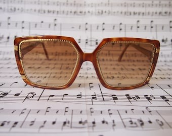 Vintage Ted Lapidus Sunglasses Brown Tortoise Shell and Gold TL1509
