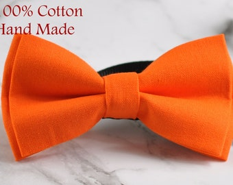 Unisex Men 100% Cotton Quality ORANGE Solid Color Handmade Bow Tie Bowtie Craft Wedding Party