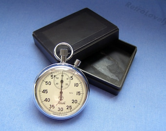 Vintage Soviet stopwatch AGAT, Mechanical chronometer USSR. Working.