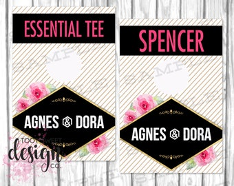 Agnes and Dora Clothing Rack Hanging Dividers, Style Name Divider for Clothes Racks, Agnes Dora Hanger Tags, Gold Stripe Floral PRINTABLE