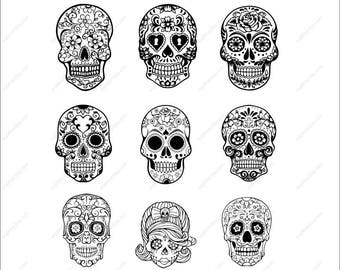 Sugar Skulls Svg Sugar Skulls outline Clipart AI DXF Eps PNG Cut files  Svg Files for Silhouette Cameo or Cricut