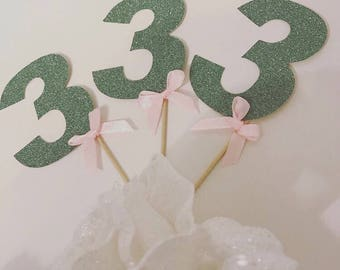 Cupcake Toppers/ Numbered Toppers/ Party Cupcake Toppers