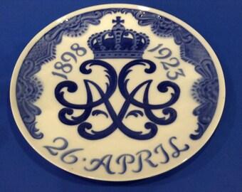 Vintage Royal Copenhagen Blue and White Commemorative 25th Wedding Anniversary of King Christian X & Queen Alexandrine of Denmark 1898-1923