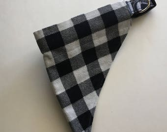 Black and White Plaid Over the Collar Dog Bandana, Black and White Buffalo Plaid Dog Bandana, Dog Bandana Black and White  Plaid