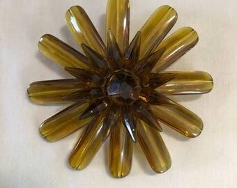 Vintage Mustard Lucite Flower Brooch