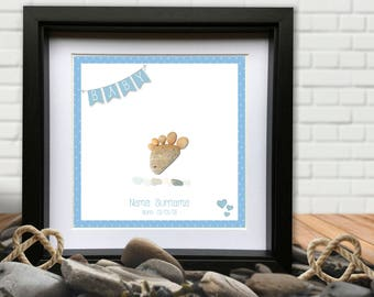 New Baby Boy / Girl Pebble Picture. Personalised 10x10 frame.
