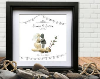 Personalised Shabby Chic Wedding Gift Picture. Pebble and sea glass. Framed Boho Vintage Love Marriage wedding