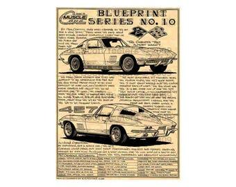 Corvette blueprint etsy 1967 c2 corvette production car art print1967 sting ray corvette1967 corvette malvernweather Images